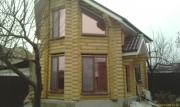Пластиковые окна WDS (ламинация - золотой дуб) в с.Каневском в деревянном срубе